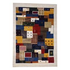 Persian Wool Handmade Lori Buft Gabbeh Patchwork Design Rug