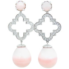 Peruvian Pink Opal Diamond and 18 Carat White Gold Earrings