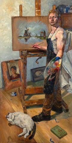 Not Windmills But Giants, Self Portrait of Artist in His Studio with Cat