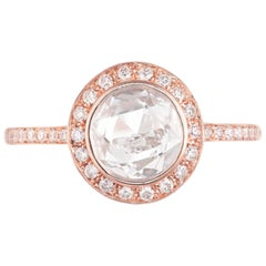 Peter Suchy 1.02 Carat Diamond Rose Gold Halo Engagement Ring