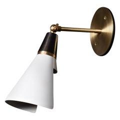 Petite Magari Adjustable Wall Lamp in Black, White & Brass by Blueprint Lighting