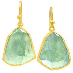 Petra Class Blue Green Rough Aquamarine Gold Dangle Drop Earrings