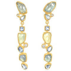 Petra Class Faceted and Rough Aquamarine White Diamond Gold Dangle Earrings