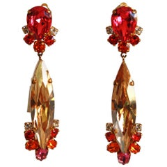 Philippe Ferrandis Swarovski Crystal Clip Earrings