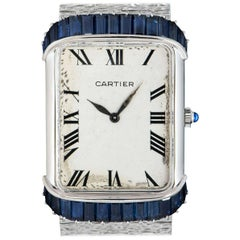 Piaget Retailed by Cartier Vintage Ladies 18k White Gold Silver Guilloche Dial