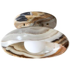 Piedra Lighting Collection, Semi-Flush Mount in Hand Carved Terra Onyx