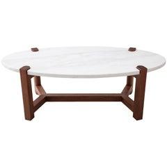 Pierce Coffee Table, White Marble, Oval, Walnut Hardwood