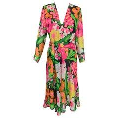 Pierre  Balmain Haute Couture Pieced Silk Vibrant Floral Dress and Sash