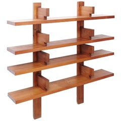 Pierre Chapo Mid-Century Modern Wood Wall-Mounted Book Shelves, circa 1960