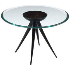 Pietro Chiesa for Fontana Arte Side Table in Glass and Ebonized Wood
