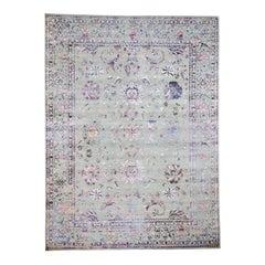 Pink Erased Wool and Silk Tabriz Design Hand-Knotted Oriental Rug
