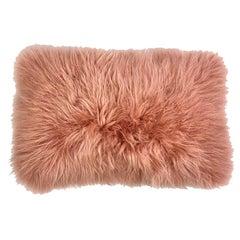 Pink Fur Pillow, Real Cashmere Fur Lumbar