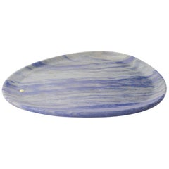 Plate Hand Carved in Azul Macaubas Marble Contemporary Design by Pieruga Marble