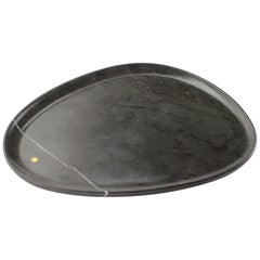 Plate Hand Carved in Grey Stone Contemporary Design by Pieruga Marble