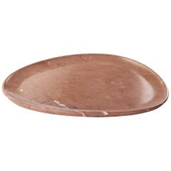 Plate Hand Carved in Pink Assisi Stone Contemporary Design by Pieruga Marble