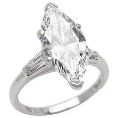 Platinum 4.18 Carat Certified Marquise Cut Diamond Engagement Ring