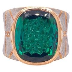 Platinum and 18 Karat Rose Gold Lens Cut Green Tourmaline Ring with Diamonds