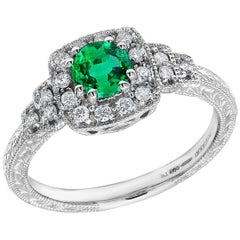 Platinum Colombian Emerald Diamond Vintage Syle Cocktail Cluster Ring