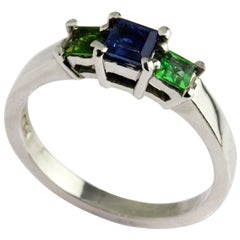 Platinum Sapphire Tsavorite Square Trilogy Ring
