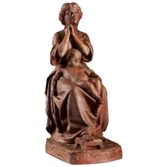 Polychromed Terracotta Signed Statue of a Woman and Child