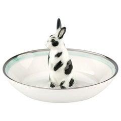 Porcelain Bowl Hand Painted with Rabbit Figure Sofina Boutique Kitzbuehel