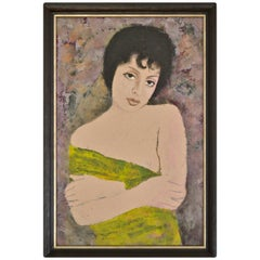 Portrait of a Girl Oil on Board by Ernst Neuschul