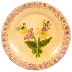 Portuguese Painted Clay Floral Pottery Plate with Pink, Yellow and Green Tones