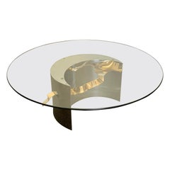 Postmodern Stainless Steel and Brass Ribbon Coffee Table, 1980s