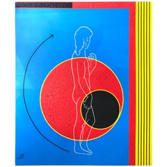 Postmodern Mod Geometric and Figural Painting, Back, Signed AB