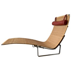 Poul Kjærholm PK 24 Chaise Lounge with Wicker Seat for Fritz Hansen