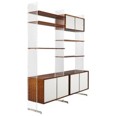 Poul Norreklitt Wall Unit in Plexiglass and Rosewood