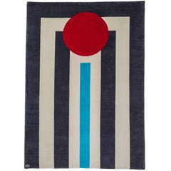 striped grey/white/blue wool rug designed by Cecilia Setterdahl for Carpets CC