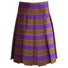 Prada 2005 Spring Runway Purple Brown and Gold Stripe Pleated Wool Silk Skirt