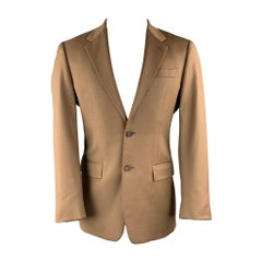 PRADA 38 Regular Tan Wool Notch Lapel Suit