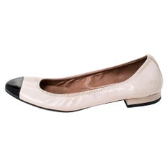 Prada Beige/Black Leather And Patent Leather Cap Toe Ballet Flats Size 36.5