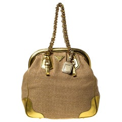 Prada Beige/Gold Woven Raffia and Leather Frame Satchel