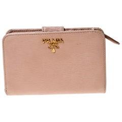 Prada Beige Leather Compact Wallet