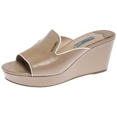 Prada Beige Patent Leather Wedge Slide Sandals Size 39.5