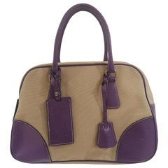 Prada beige purple handle bag / Shoulder bag