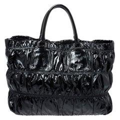 Prada Black Gaufre Patent Leather Large Tote