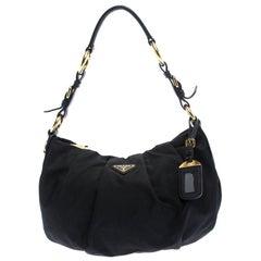 Prada Black Nylon Pleated Shoulder Bag