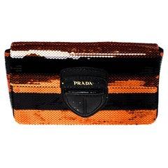 Prada Black/Orange Stripe Sequins Righe Clutch