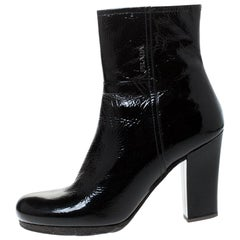 Prada Black Patent Leather Ankle Length Boots Size 40.5
