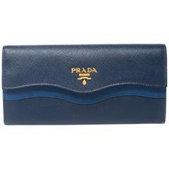 Prada Blue Saffiano Lux Leather Wave Continental Wallet