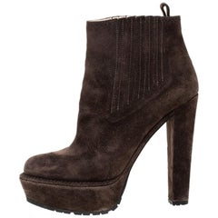 Prada Brown Suede Platform Ankle Boots Size 37