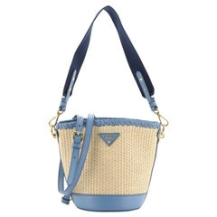 Prada Bucket Bag Woven Raffia with Leather Small
