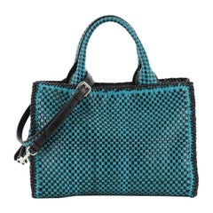 Prada Convertible Open Tote Madras Woven Leather Medium