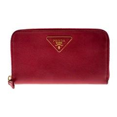 Prada Dark Pink Saffiano Lux Leather Zip Around Wallet