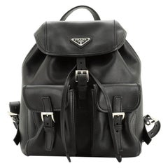 Prada Double Front Pocket Backpack Soft Calfskin Small