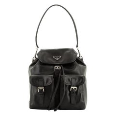 Prada Double Pocket Shoulder Bag Soft Calfskin Medium